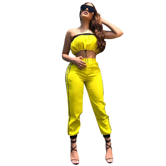 d9991f866a5 Yellow Two Piece Set Women Tracksuit Drawstring Strapless Crop Top and Side  Striped Pants Suit Sexy