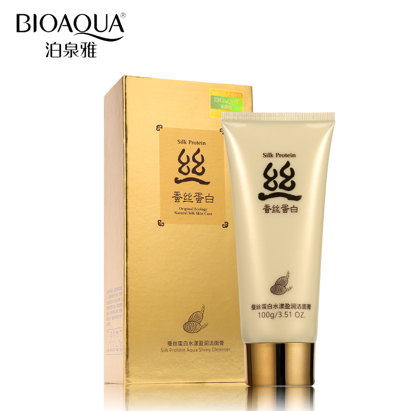 BIOAQUA Silk Protein Collagen Facial Pore Cleanser Deep Cleaning Whitening Moisturizer Mild Skin Care Face Washing Product 100g