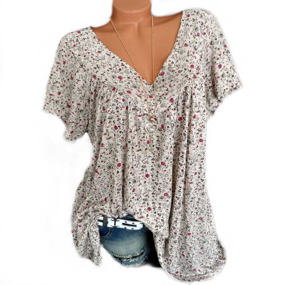 2019 Zomer Vrouwen Bloemen V-hals T-shirts Tops Casual Kleding Losse Korte Mouw Doek Tuniek Big Size Vrouwelijke T-shirt Tops s-5XL