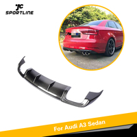 Rear Diffuser for Audi A3 Sedan 2017 2018 2019 Standard Non S3 Sline Carbon Fiber Bumper Lip Spoiler Quad outlet Car Styling|Bumpers| |  -