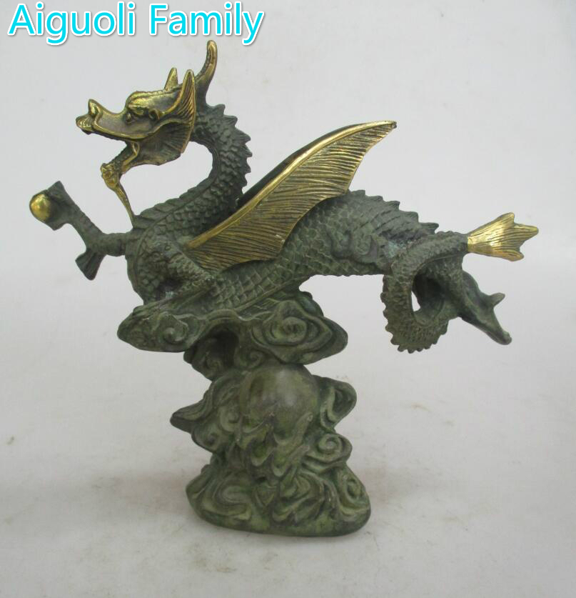 AAA+Rare Chinese Old Bronze Carved Flying Dragon Sculpture/Art Antique Home Decoration Statue Gift