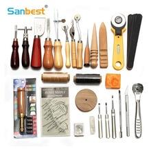 Sanbest Kit de herramientas para manualidades de cuero, herramientas para coser a mano materiales para tallado de sillín, accesorios DIY, AT00004