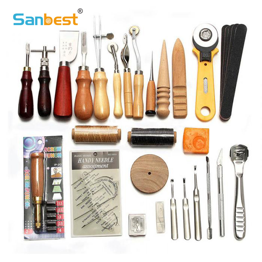Sanbest Professional Leather Craft Tools Kit Hand Sewing Stitching Punch Carving Work Saddle Groover Set Accessories DIY AT00004-in Leathercraft Tool Sets from Home & Garden