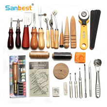 Sanbest Professional Leather Craft Tools Kit Hand Sewing Stitching Punch Carving Work Saddle Groover Set Accessories DIY AT00004 19pcs leather tools craft punch kit stitching carving working sewing saddle groover diy drilling grinding needle buckle tool