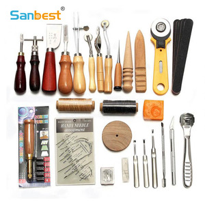 Image 1 - Sanbest Professional Leather Craft Tools Kit Hand Sewing Stitching Punch Carving Work Saddle Groover Set Accessories DIY AT00004