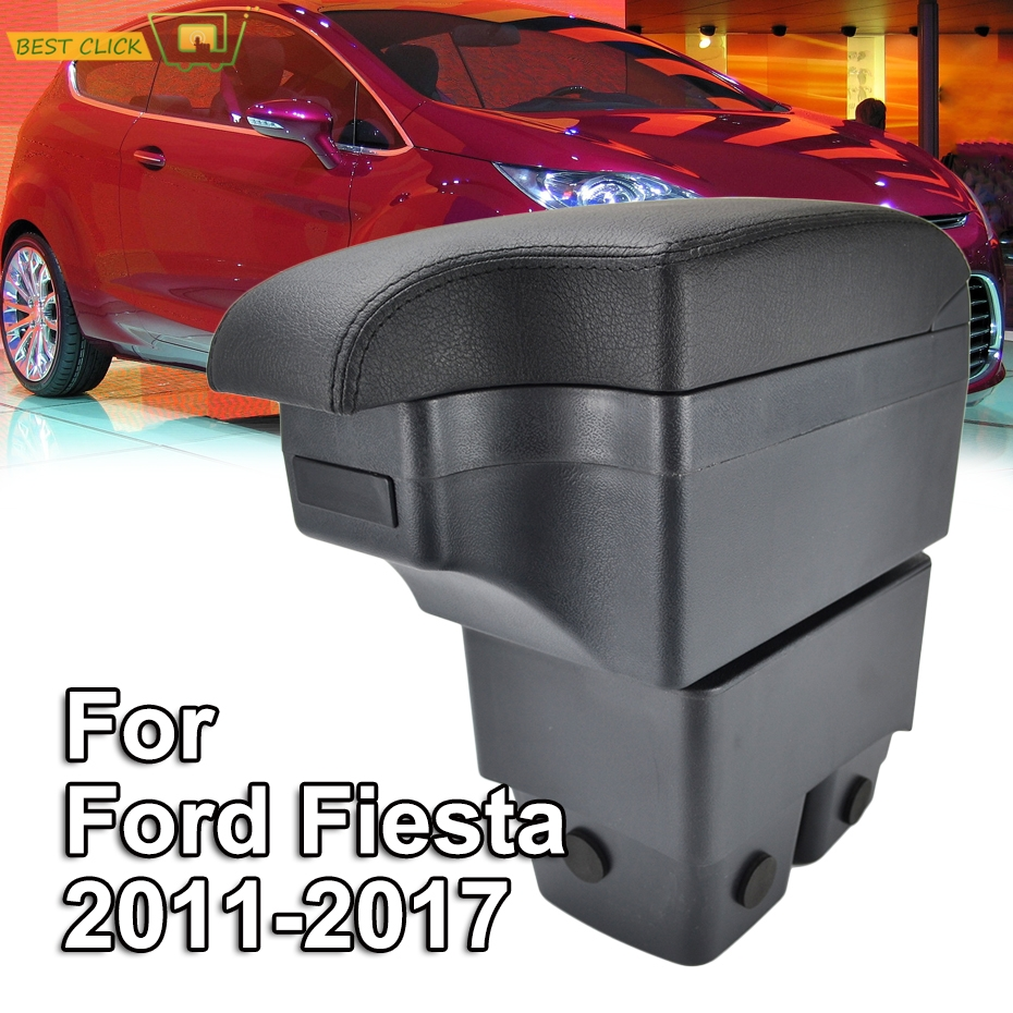 Car Styling Black Center Console Box For Ford Fiesta 2009 2017 New Armrest 2011 2013