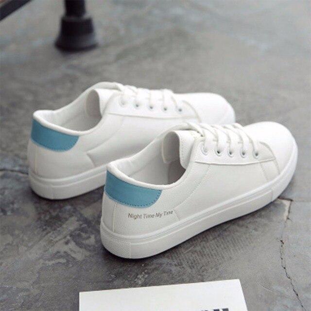 224cde60c7d 2018 zapatos vulcanizados transpirables a la moda para mujer zapatos de  plataforma de cuero Pu para