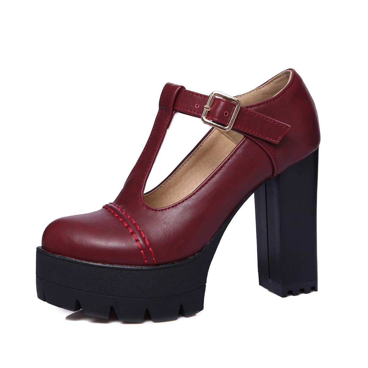 Moda De Primavera Para 43 Y Otoño 34 Correa Mujer En T Tallas Zapatos Con vino 2017 Grandes Alto Nuevos Tinto Mujer Negro Tacón qtwEI8I