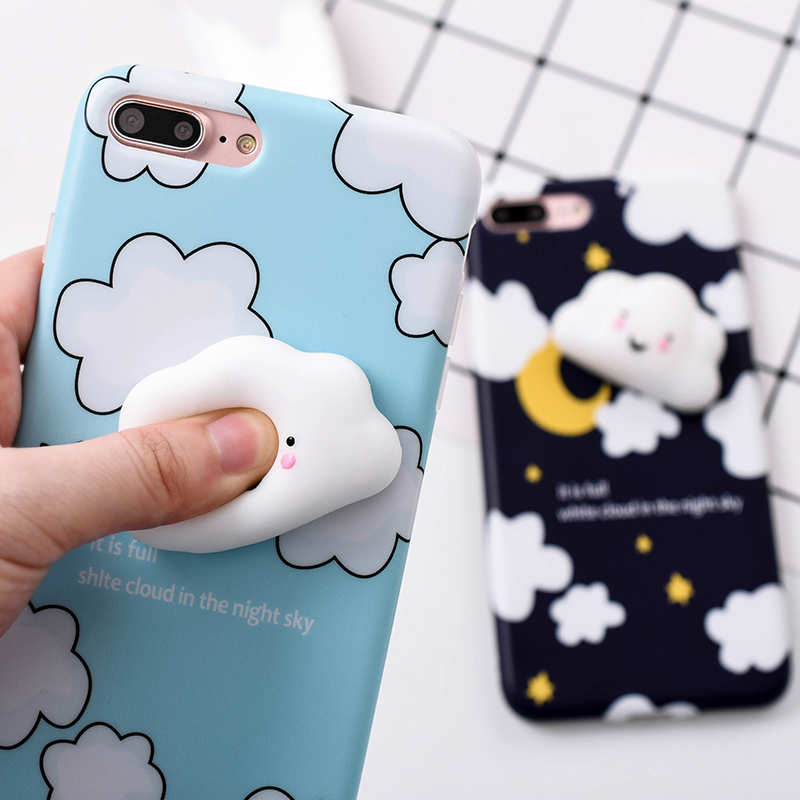 7a870add22 Lovely 3D Cute Soft Silicone Cartoon Cat White clouds Squishy phone case  for iPhone 5 5S SE 6 6S 7 7 8 plus Animal Kitty Cover
