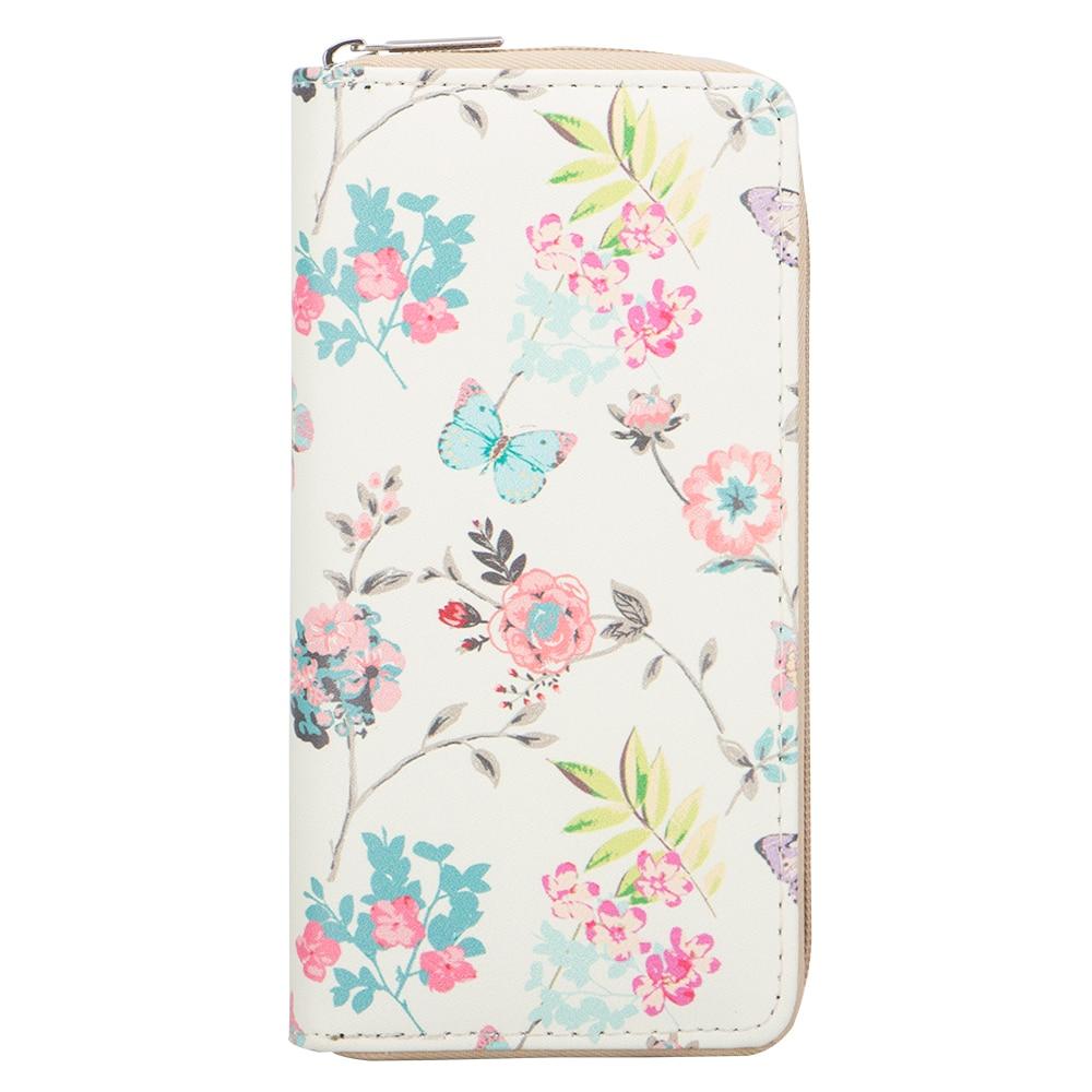 Sansarya 2018 Lovely New Fashion Flower Butterfly Print Long Teenage Woman Wallet Zipper PU Leather Clutch Purse Card Holder finger print pu wallet