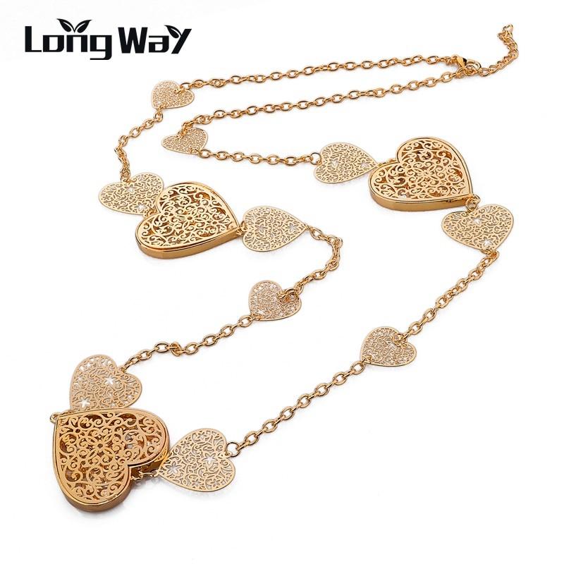 2427b2b442c1 LongWay moda 2016 collares largos y colgantes para las mujeres Vintage Fer  corazón collar cadena cristal accesorios joyería SNE150005