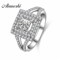 Luxury Wedding Ring 1 0 Carat Princess Cut Sona Synthetic Diamond Engagement Rings For Women 925