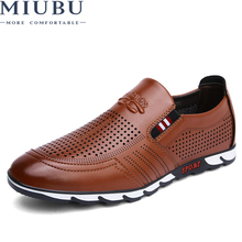 купить MIUBU Designer Sneakers Men Genuine Leather Shoes Slip On Moccasins Loafers Men Leather Casual Shoes Summer онлайн