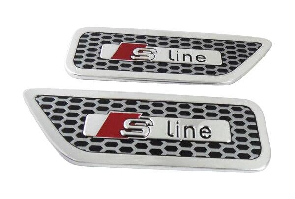 2 x aluminium S-line Sline for A4 S4 RS4 A6 TT A3 side wing Emblem Badge Sticker auto chrome camaro letters for 1968 1969 camaro emblem badge sticker