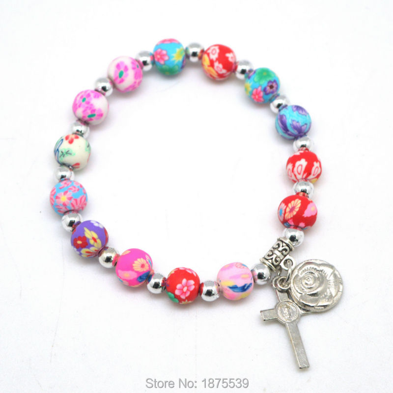 2017 Best Selling Rosary Bracelet With 8 Mm Mixed Color Polymer Clay Bead