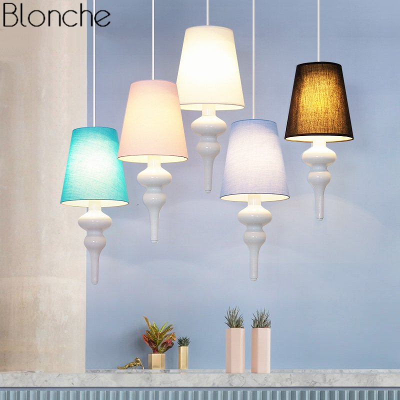 Nordic Cloth Pendant Lights Dining Room Kitchen Bedroom Lamp Modern Fabric Led Hanging Lamp Home Decor Light Fixtures Luminaire creative retro children s aircraft pendant light modern plane led hanging lamp bedroom boy room kids cartoon fixtures home decor