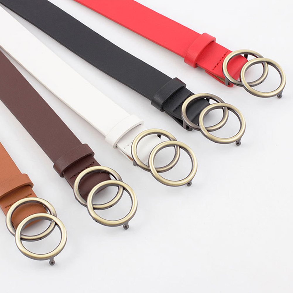 Double Round Metal Buckle Waist Belt For Women Fashion Female Solid Color Pu Lether Waist Belt Ladies Casual Accessories