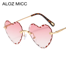 ALOZ MICC Sexy Love Heart Sunglasses Women Brand Designer Rimless Metal Sun Glasses Female Pink Grey Gradient Oculos UV400 Q235
