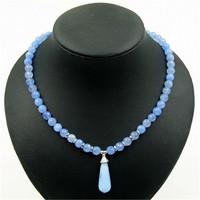 Vintage Classic Laboratory Created Natural Stone Jewelry Ice Blue Aquamarine Beaded Chain Choker Necklace With Pendant