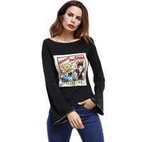 Flare Manches Imprimer Slim Femmes Vintage T-shirt Occasionnel D'o-Cou Fitness Plus Taille Automne Tops Harajuku Drôle T shirts Streetwear