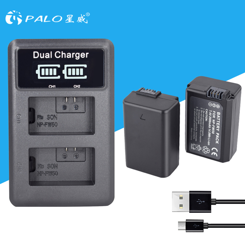 2 pcs 2000 mah NP-FW50 NP FW50 Caméra Batterie + USB LCD Double Chargeur pour Sony Alpha a6500 a6300 a7 7R a7R a7R II a7II NEX-3 NEX-3N