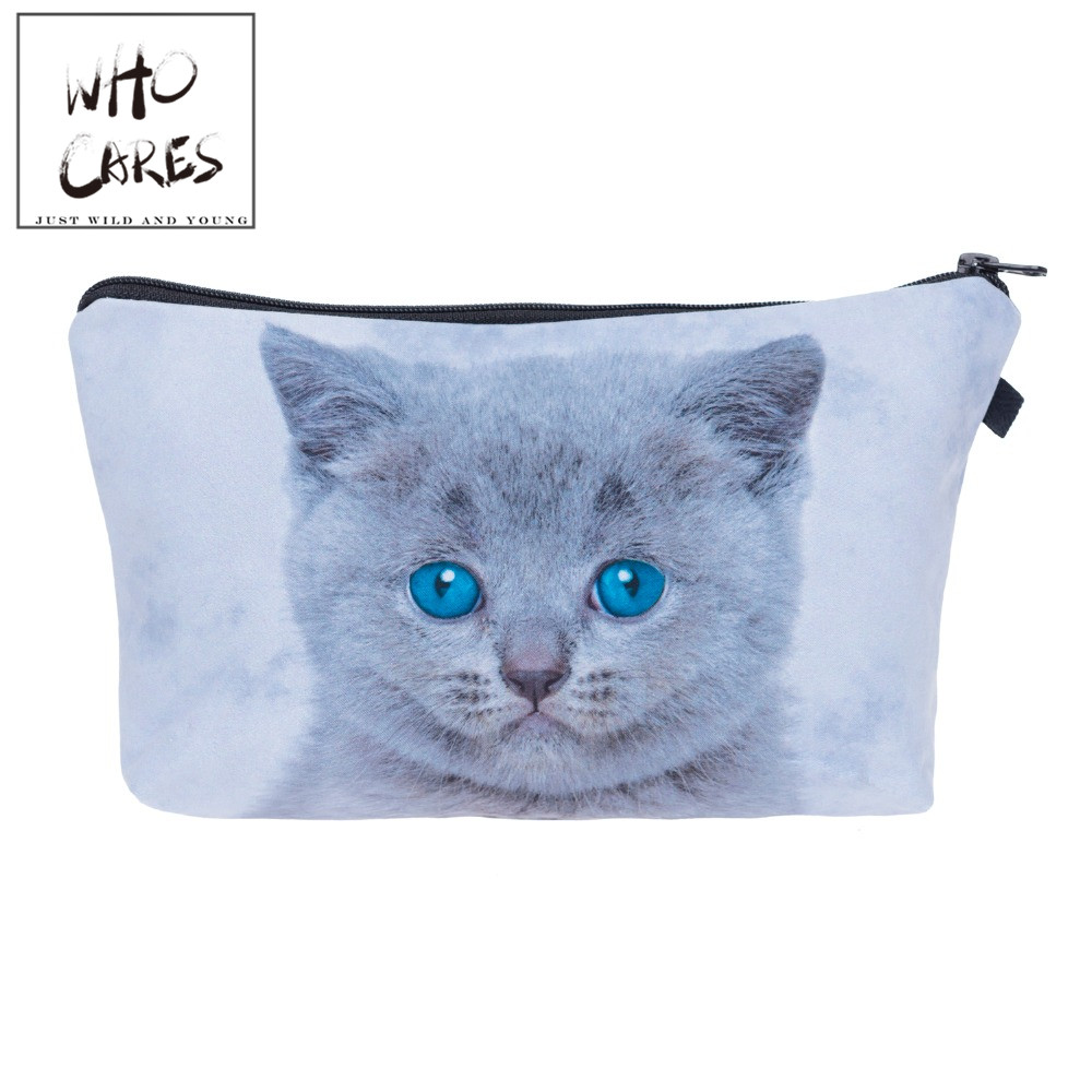 Gray blue eyes cat Cosmetic Bags 3D Printing Travel Makeup bag Small bags Gift trousse de maquillage make up bag pencil case