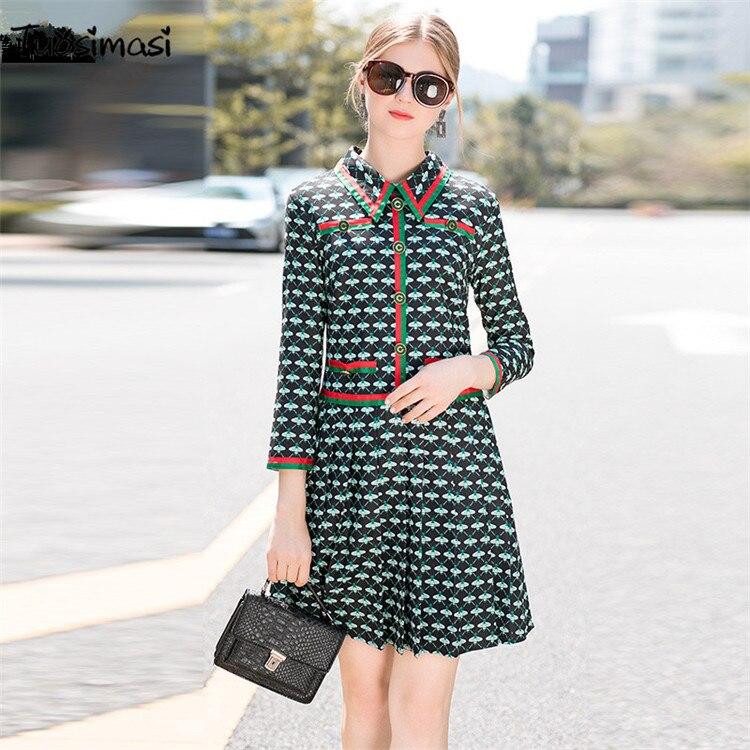 2018 new spring autumn green vintage reto print shirt dress(UL226)