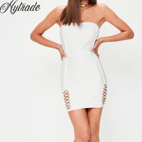 Short Women Outfits 2018 New Summer Cocktail Vestidos Slim Bodycon Sheath Mini Lace Up White Strapless Bandage Dress for Party