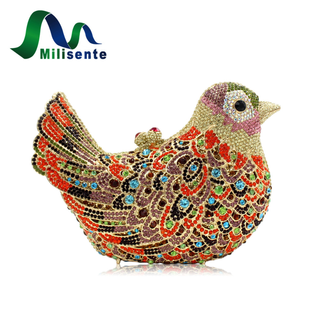 Milisente Women Luxury Crystal Clutches Laides Evening Bag Female Colourful Bird Shape Wedding Clutch Purses milisente high quality luxury crystal evening bag women wedding purses lady party clutch handbag green blue gold white