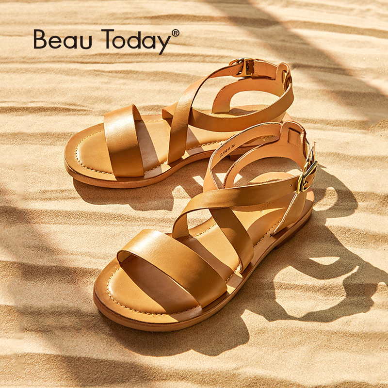 BeauToday Women Flat Sandals Genuine Leather Calfskin Cross Strap Rome Style High Quality Summer Ladies Shoes
