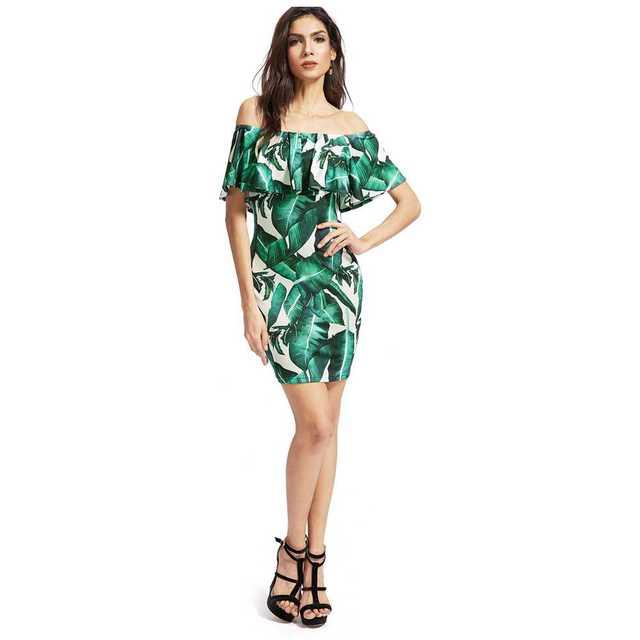 TFGS Women Dresses Off Shoulder Palm Leaf Banana Leaf Print Sexy Mini Dress  Ruffles Elegant Female Party Beach Dress(Green 7957b9275