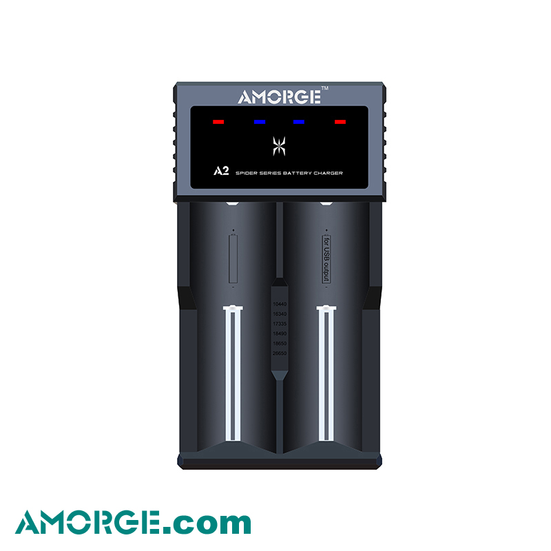 AMORGE Spider A2 USB Quick Charger for 3.7V Li-ion IMR INR NCR AA AAA 10440 14500 16340 18350 18650 20700 21700 battery charger
