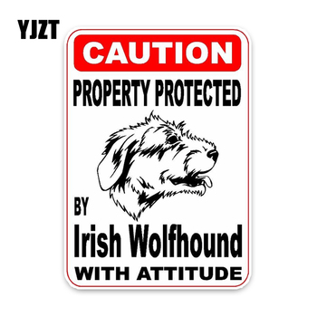 YJZT 8*11.4CM Property Protected By Irish Wolfhound Dog Sketch Car Bumper Window Decoration Car Sticker C1-4723 image