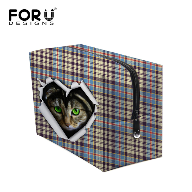 Designer Cute 3D Animal Cat Printing Make Up Bag Lattice Women Cosmetic Bag,Big Size Organizer Female Toiletry Bag