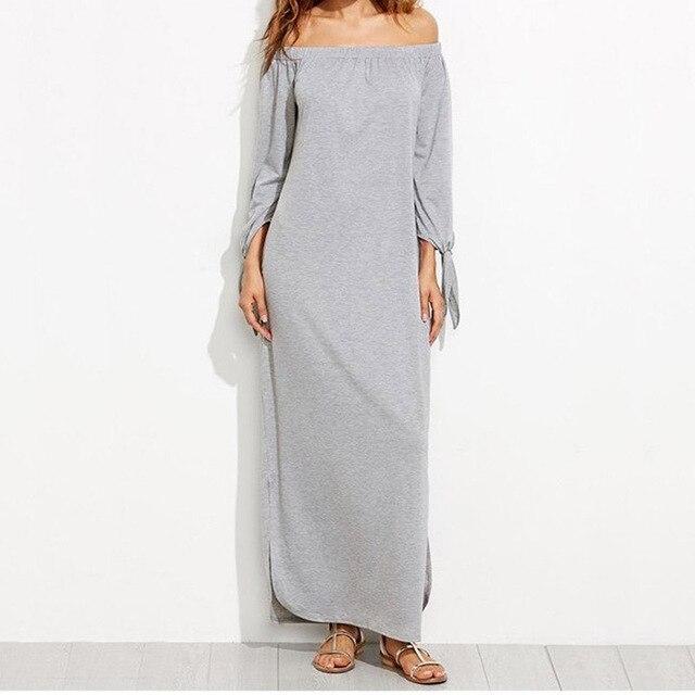 9b6f3e919221 Women Casual Long Shift shirt Dresses For Ladies Summer Grey Off The  Shoulder Tie Long Sleeve Slit Maxi Dress