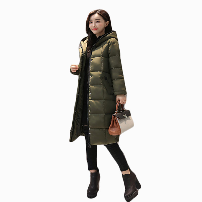 2017 NEW HOT WOMEN WINTER JACKER FASHION SLIM MID LENGTH HOODED THICK WARM FEMALE PARKAS ...