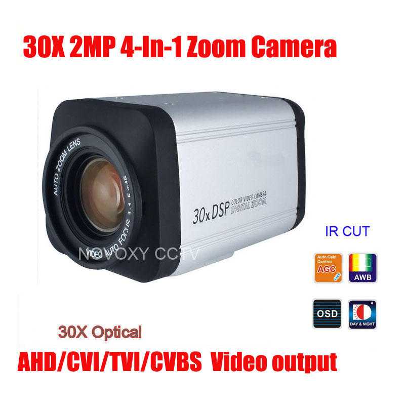 Free Shipping SONY IMX323 2MP 1080P AHD CVI TVI CVBS 4 In 1 30x Optical Zoom