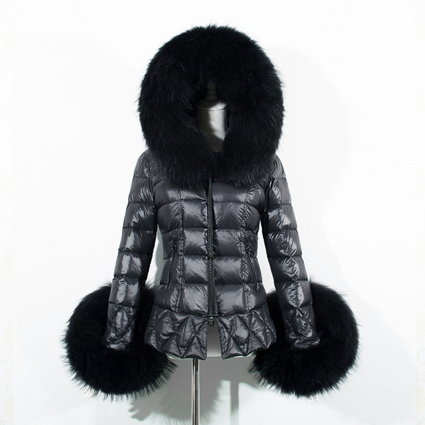 Plus Size Dresses Fur Cuffs: 2016 New Women Winter Parkas Quality Faux Fur Cuff Hooded