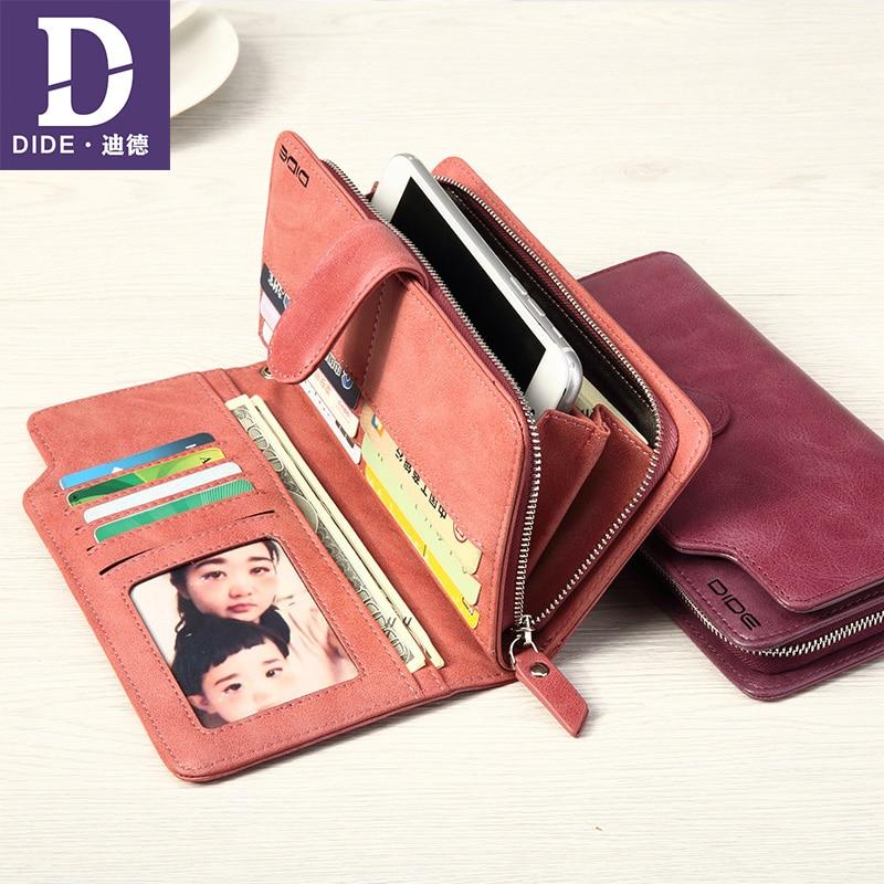 DIDE Lovers Wallets Women Clutch Wallet Genuine Leather Wallet Female Long Wallet Men Zipper Purse Strap Coin Purse For iPhone 7 fsinnlv genuine leather wallet for women zipper