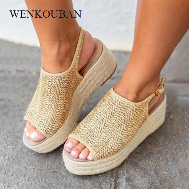 deaeaf69a Women Platform Sandals Summer Women Hemp Sandals Fashion Female Beach Shoes  Ladies Wedge Heels Peep Toe