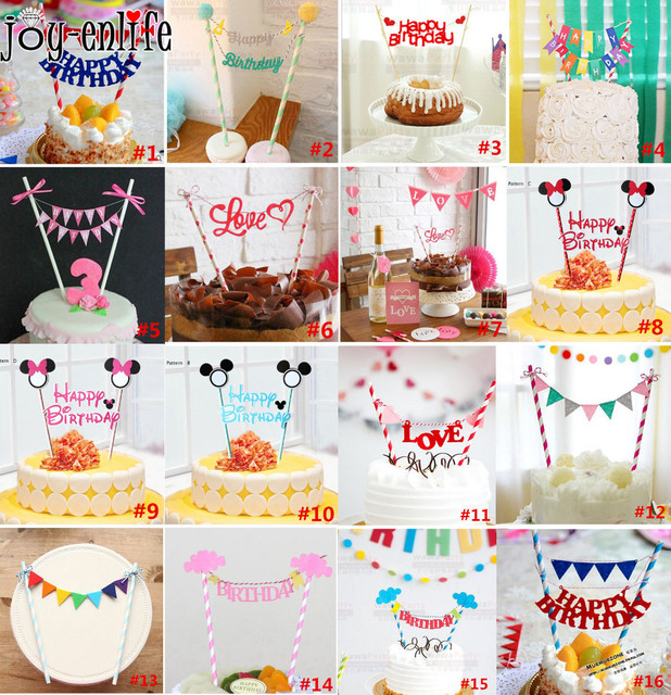 happy birthday cake topper for kids birthday party decoration supplies wedding decoration baby shower - Party Decoration Stores