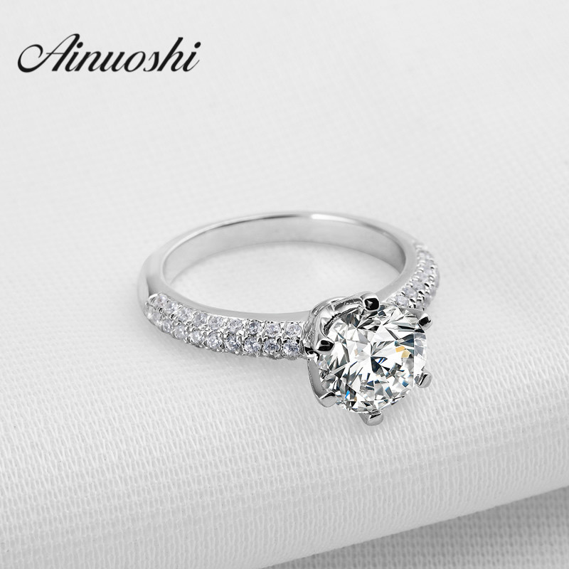 AINOUSHI 2 Carat Sona Ring 925 Sterling Silver Rings for Women nscd Luxury Wedding Round Cut