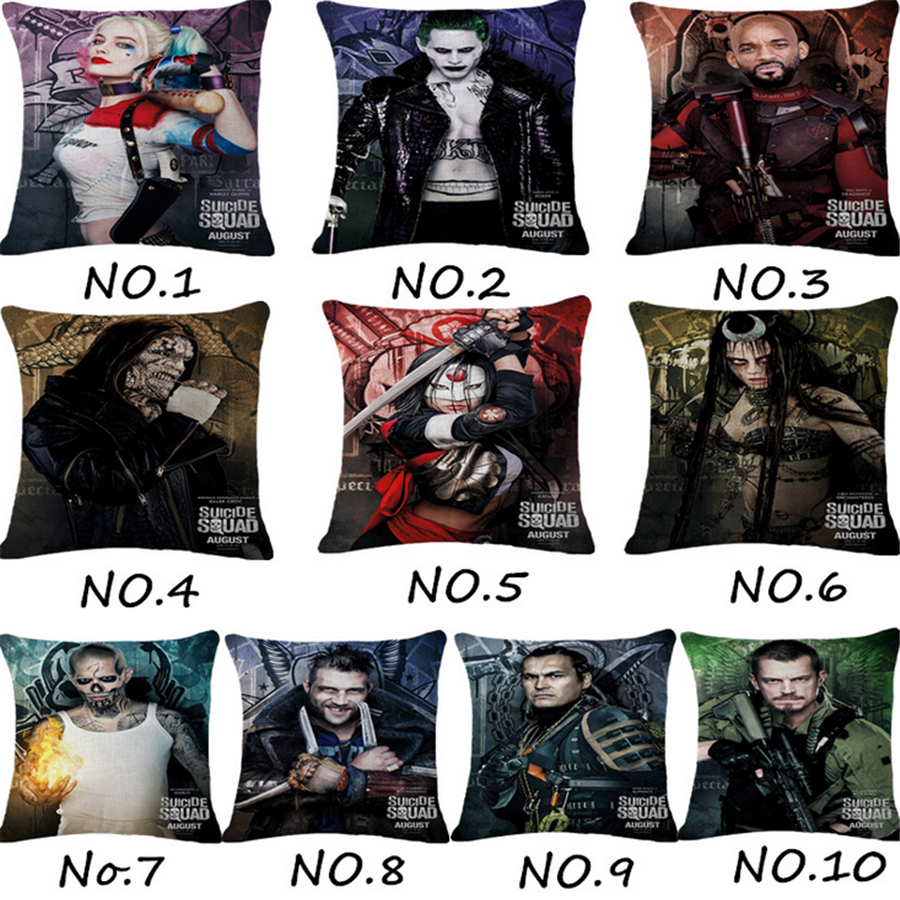 Suicide Squad Movie Sofa Throw Pillow Case Office Chair Decorative Cushion Cover Home Decor Pillowcase Pouf Cojines 45*45cm d14