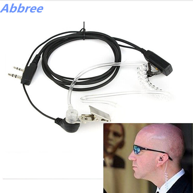 2Pcs Abbree Air Acoustic Tube Headset Earphone Earpiece Throat  Microphone For Baofeng TYT Wouxun Walkie Talkie air acoustic tube interphone earpiece ptt mic radiation proof anti noise in ear earphone for motorola xpr xir dp apx series