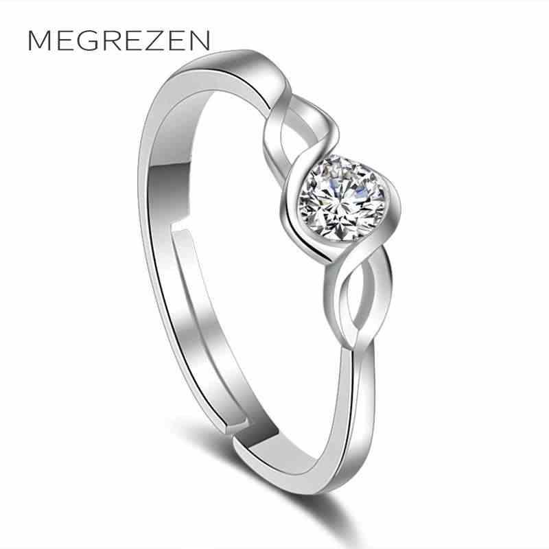 Gümüş Zirkon Açık Yüzükler Kadınlar Için Ayarlanabilir Kristal Alyans Bayan moda takı Anel Anillos Aneis Bague K106-5