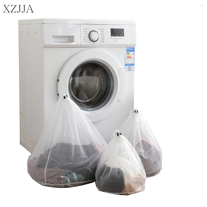 XZJJA 1PC White Drawstring Laundry Bags Women Bra Underwear Nylon Mesh Bag Washing Pouch Clothes Protector Case Laundry Baskets