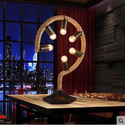 E27 * 6 Nordic American LED Настольная Лампа Ткань Конопли Веревки, Современный Стол лампы Для Кабинета Кафе-Бар Главная Светильники Luminaria-де-меса