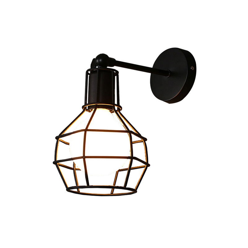 Vintage Iron American Wall Lamp Modern Black Wall Lights For Bedroom Hallway Sconce Retro Indoor Wall Lamp For Reading(BC-70)