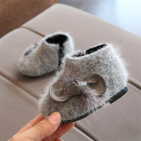 Winter Baby Shoes Infants Warm Shoes Toddler Fashion Bow Decor Girls Snow Boots High Quality Mink