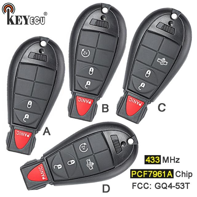 KEYECU 433 MHz PCF7961A שבב GQ4-53T החלפת 2 + 1/3 + 1 4/4 + 1 5 כפתור מרחוק מפתח Fobik Fob עבור דודג 'RAM 1500 2500 3500 4500